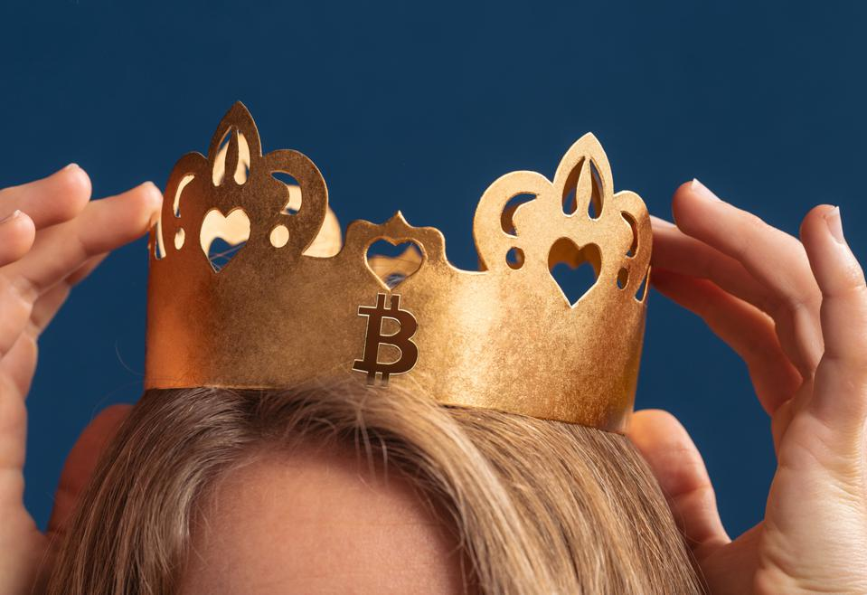 Bitcoin Queen wearing gold crown