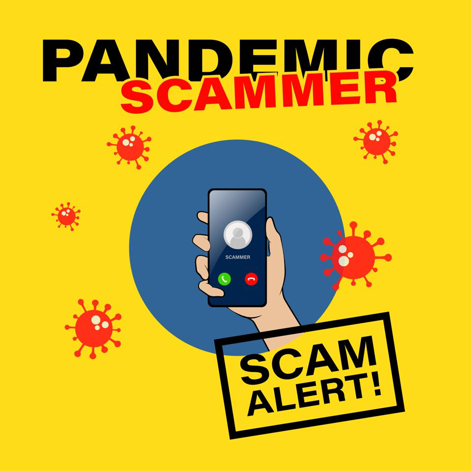 Pandemic Scammer. Fraud and scam alert on covid-19