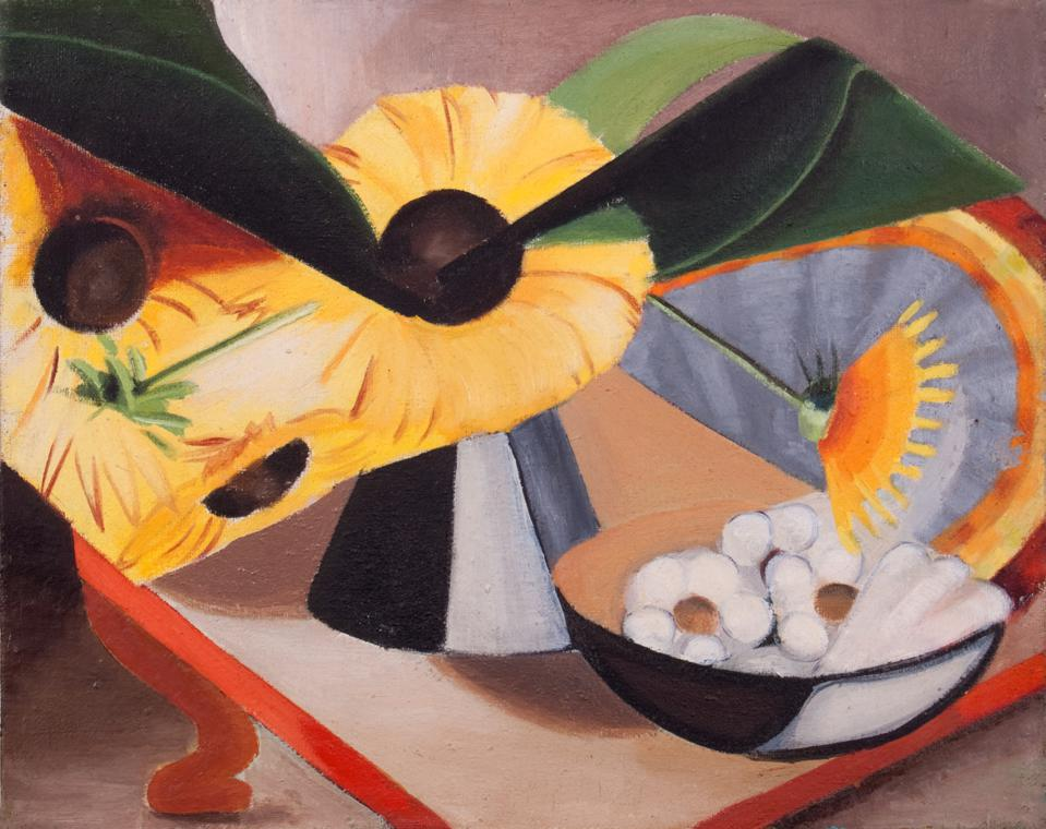 Dusti Bongé (American, 1903 - 1993), Sunflowers and Squash, P - 92, 1944. Oil on canvas, 16 x 20.