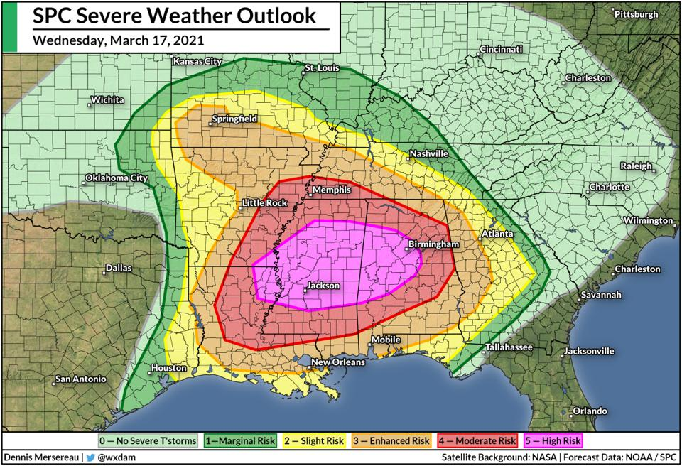 The SPC's severe weather outlook for Wednesday, March 17, 2021.