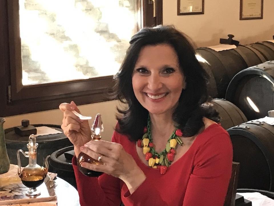 Food historian Francine Segan tasting aceto balsamic in Modena