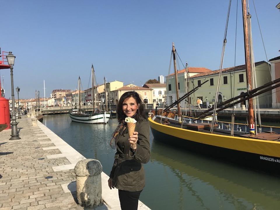 Eating gelato in Cesenatico, Emilia Romagna