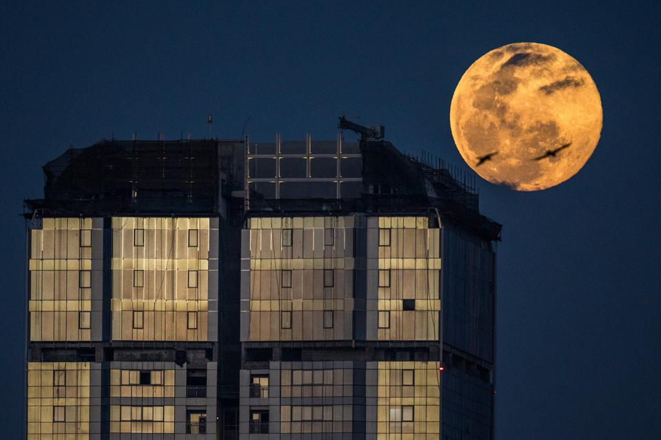 Super Worm Moon Rises In The Sky