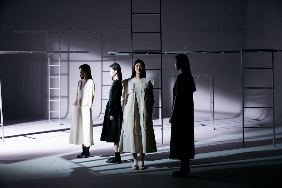 four models in dresses