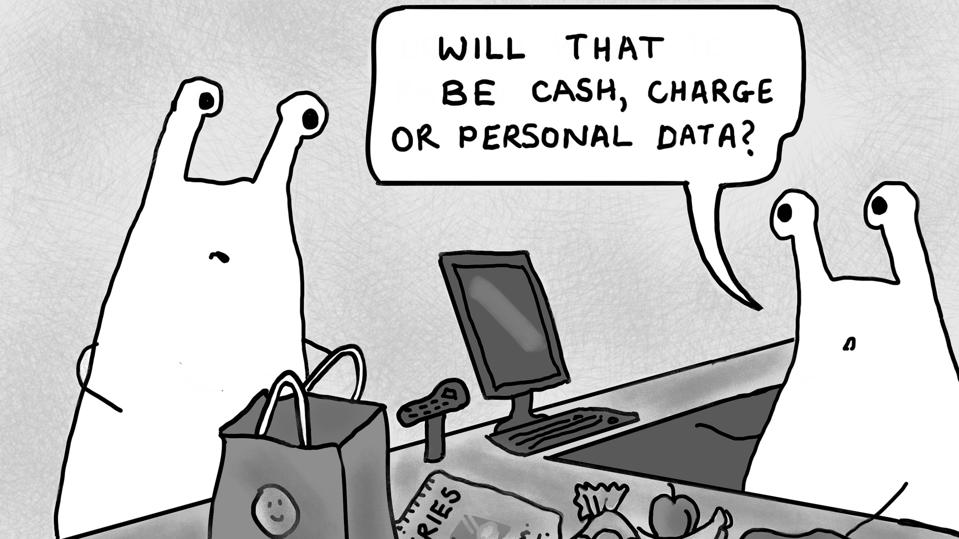 A joke about retailers wanting personal data.