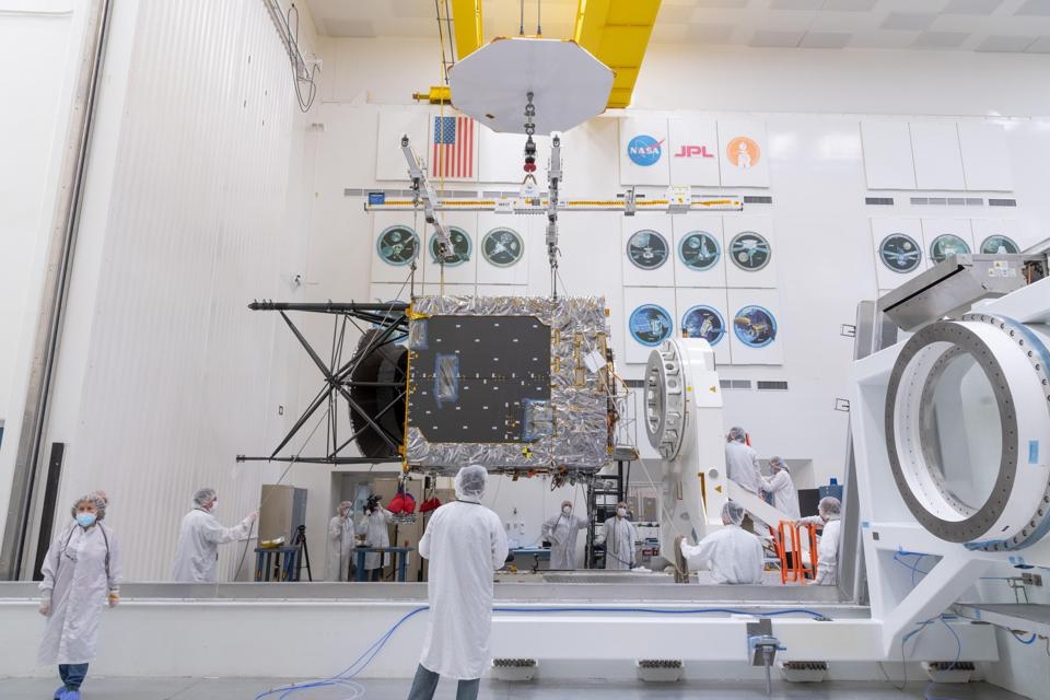 In late March of 2021, a main component of NASA's Psyche spacecraft was delivered to JPL, where assembly, test, and launch operations are underway.
