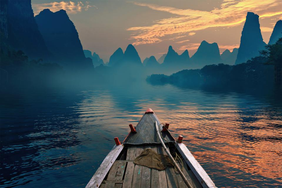 Boat riding in a river