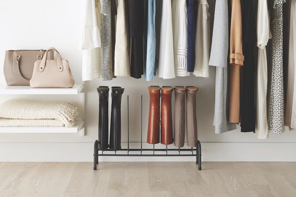 4 Pair Graphite Boot Rack in a closet