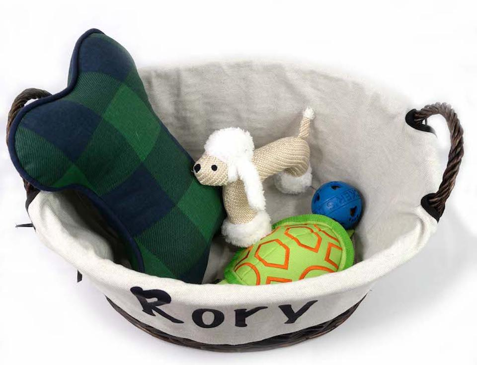 Pup-A-Lot Sammys Toy Shop Pup Basket filled with dog toys