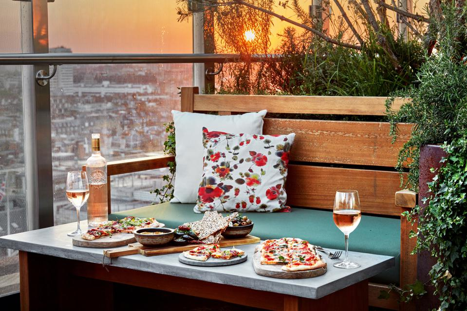 Meal on the roof terrace of a hotel