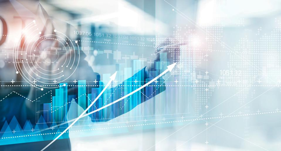 Hand of businessman drawing graphs growth of business, planning and strategy on modern virtual interface screen.