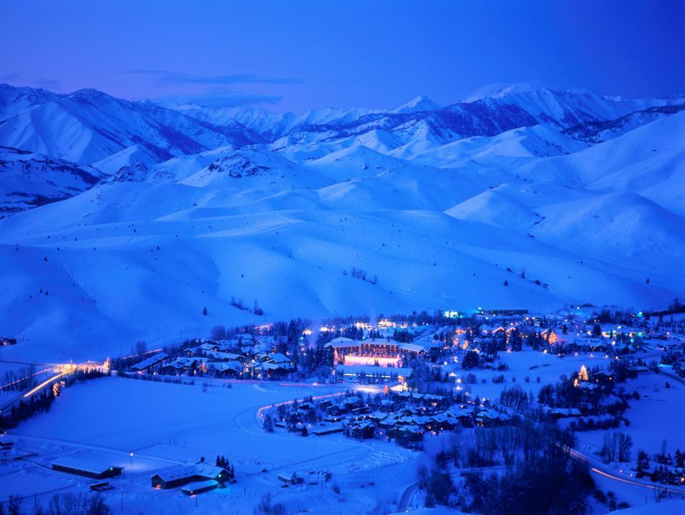 Idaho,Sun Valley Lodge at dusk