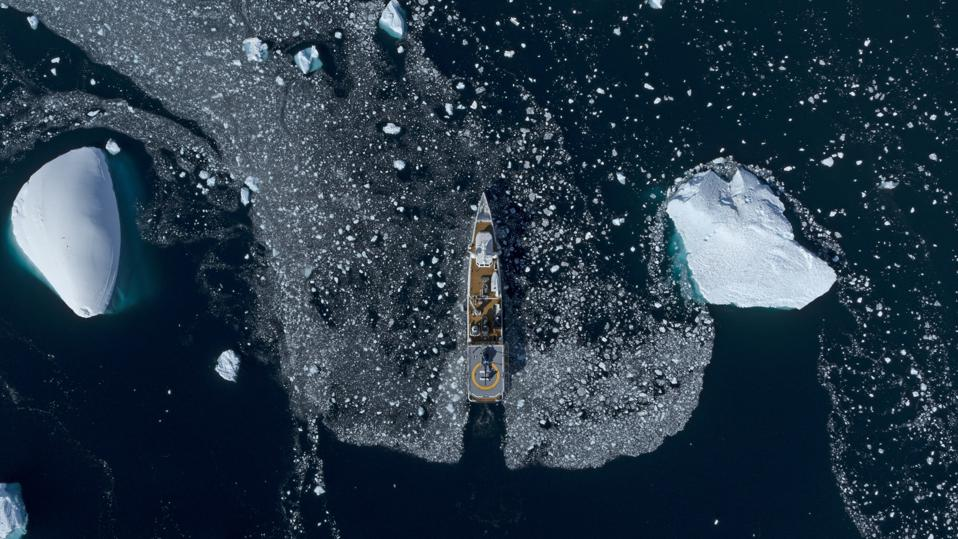 Game Changer superyacht sails through the ice