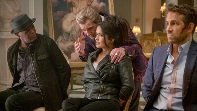 Samuel L. Jackson, Salma Hayek, Antonio Banderas and Ryan Reynolds in 'The Hitman's Wife's Bodyguard'
