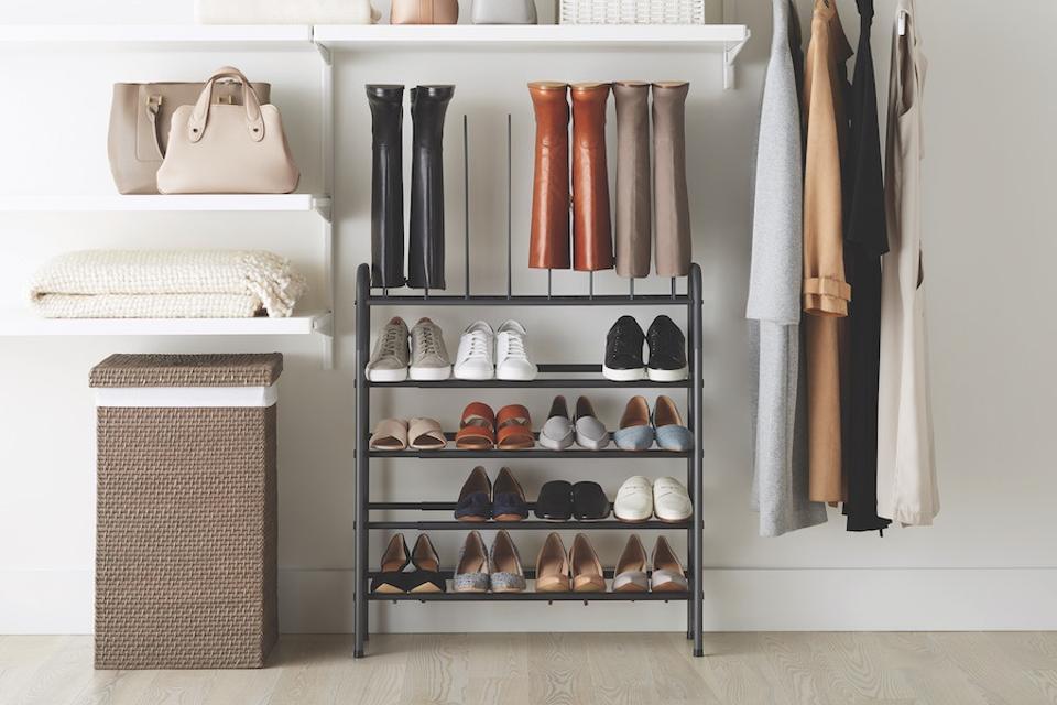 8 Tier Freestanding Shoe Rack in a closet