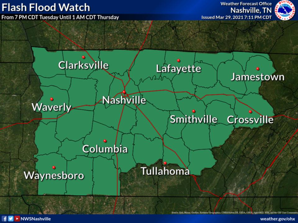 A map showing flash flood watches across central Tennessee on March 30, 2021.