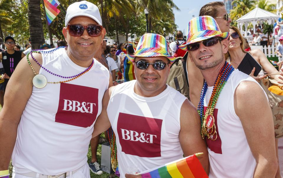 BB&T Bank, employees at the Gay Pride Parade on Ocean Drive.