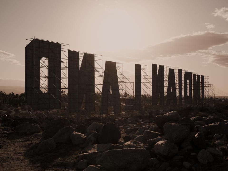 Desert X installation view of Nicholas Galanin, Never Forget.2021. Photography by Lance Gerber. Courtesy the artist and Desert X. LANDBACK GoFundMe.