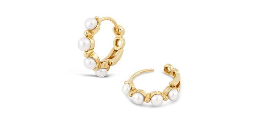 Shuga 14k Gold Pearl Huggie Hoops by Dinny Hall