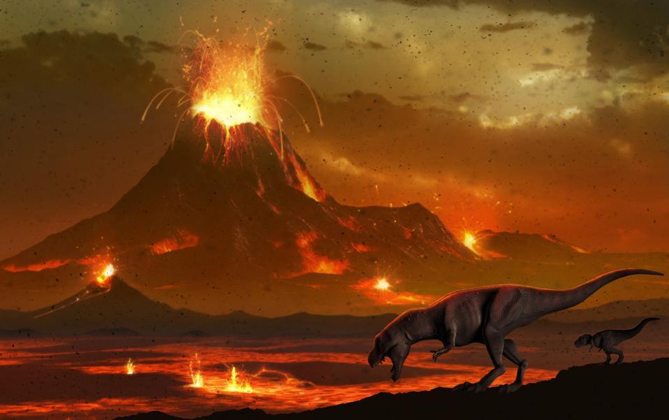 Tyrannosaurs survey a volcanic landscape