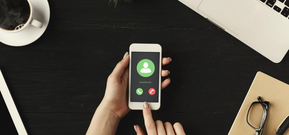 Top View of Incoming Call Communication Connect