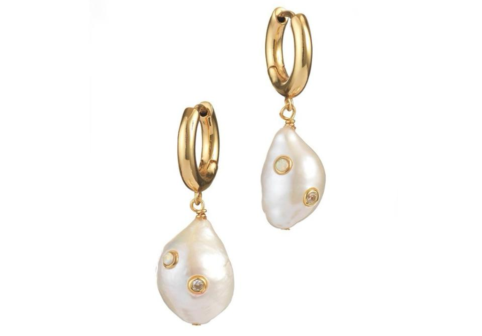 Gertrude Pearl Hoop Earrings Anna Li