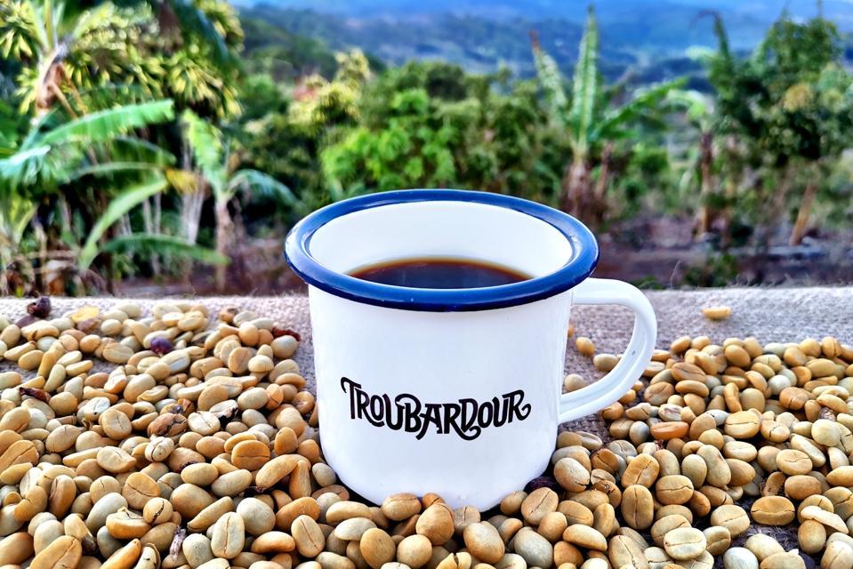 Troubardour Coffee in a mug