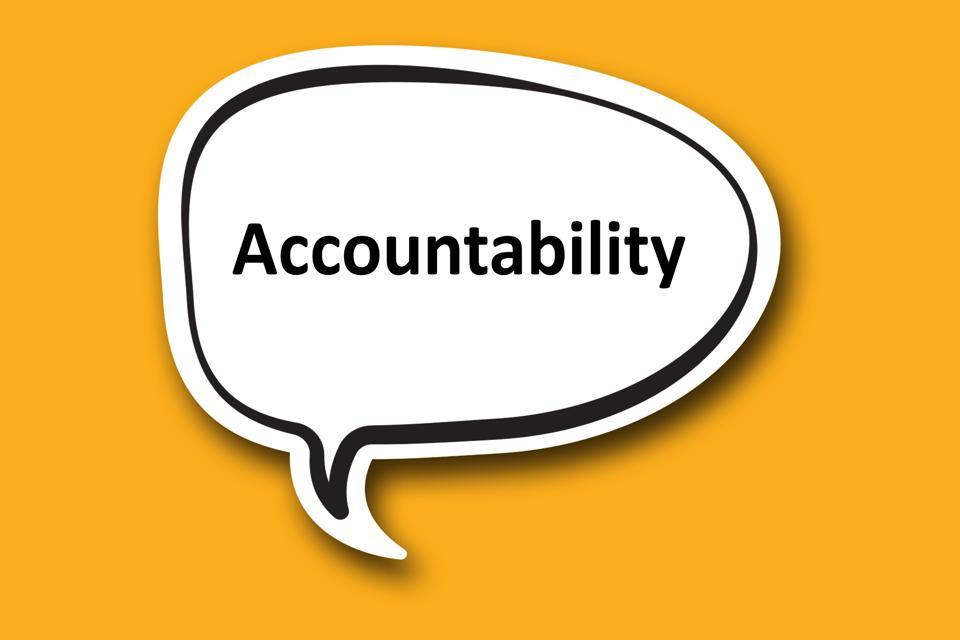 Accountability word written talk bubble