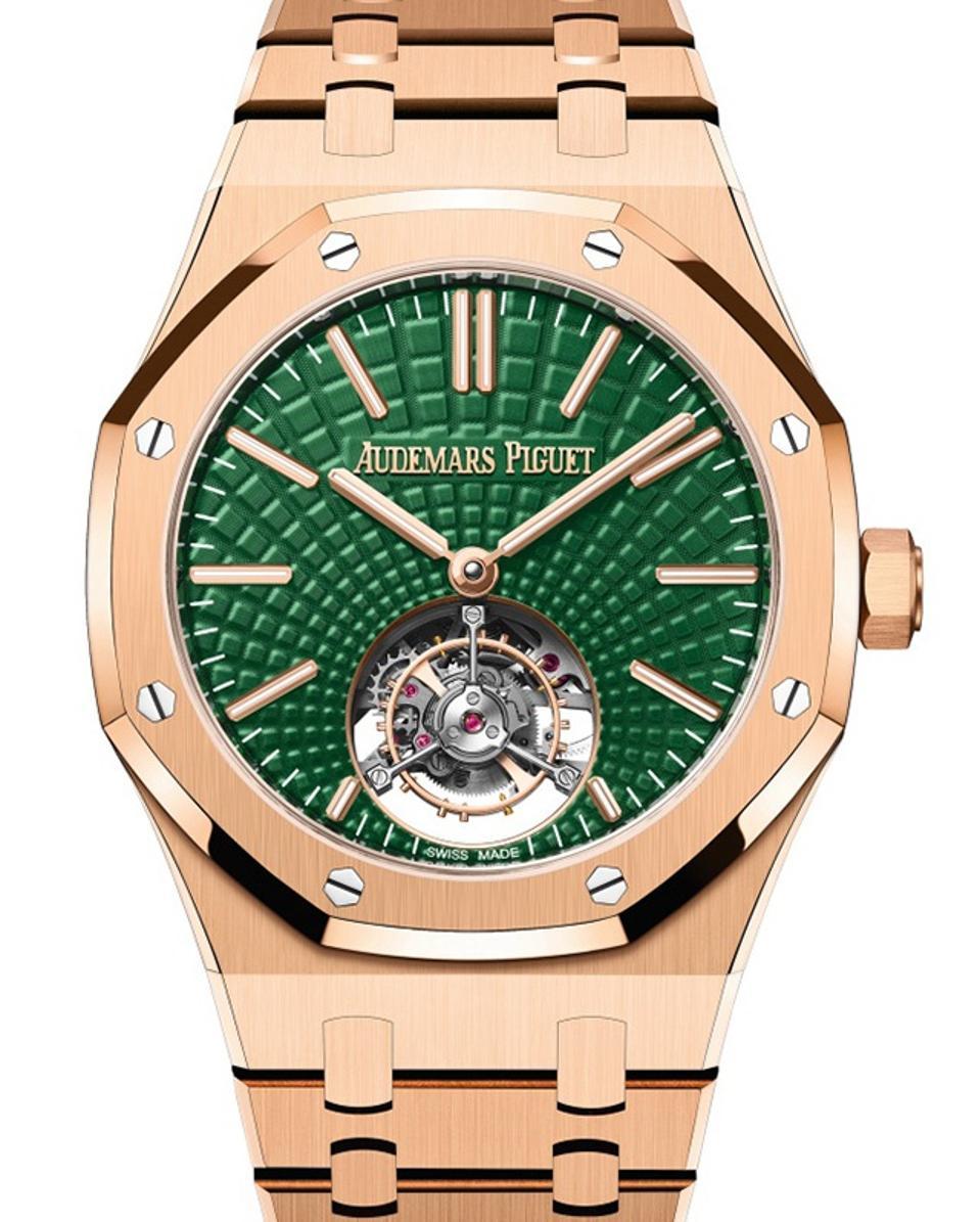 Audemars Piguet Royal Oak Tourbillon with green dial in 18k rose gold.