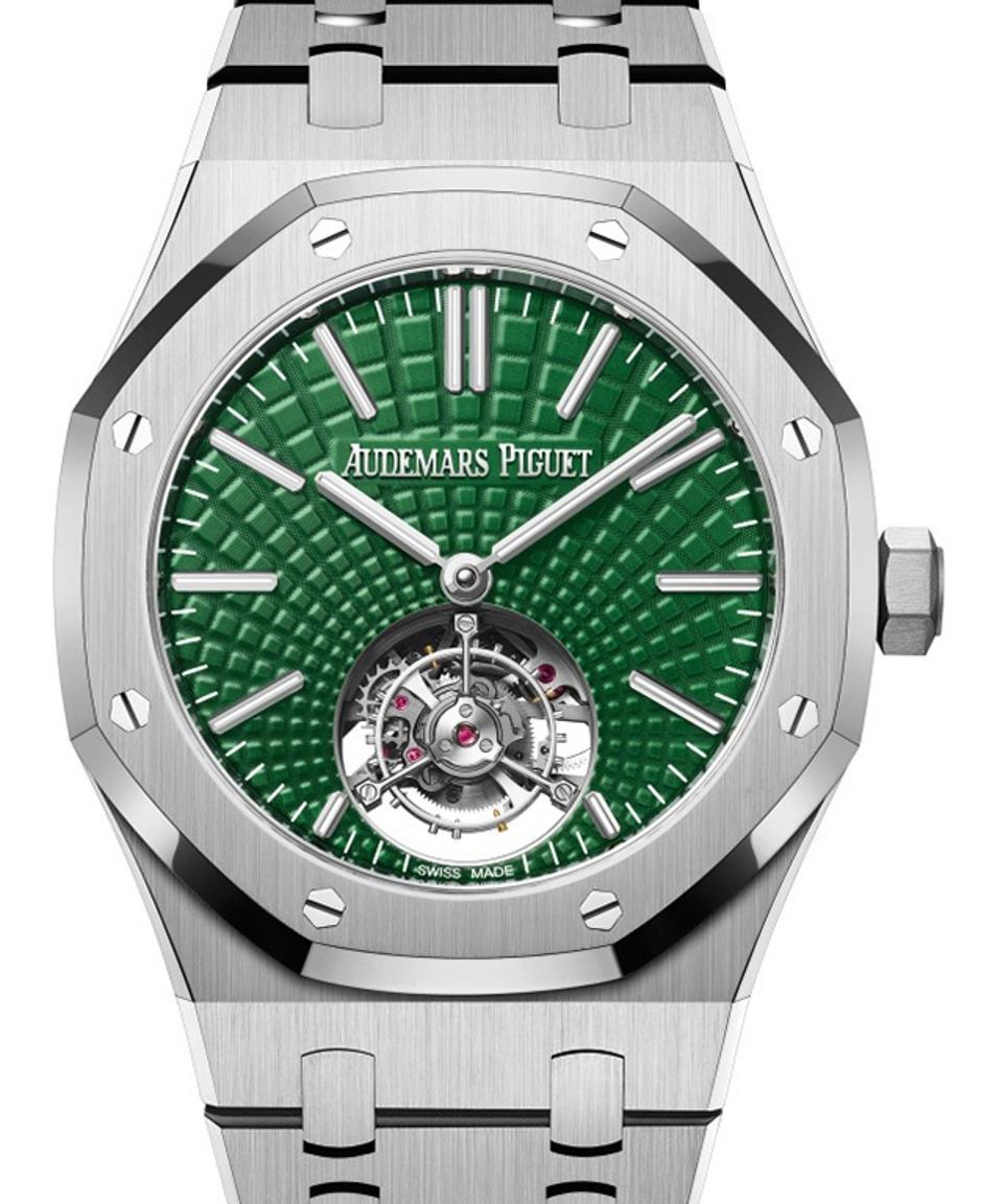 Audemars Piguet Royal Oak Tourbillon in titanium with green dial.