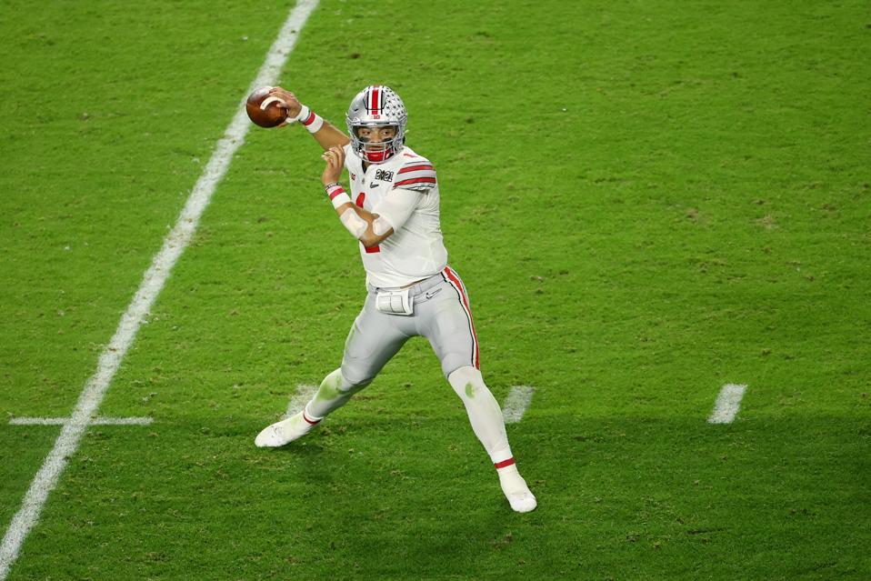 Ohio State quarterback Justin Fields against Alabama.