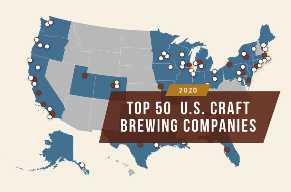 The map of the top 50 craft brewers