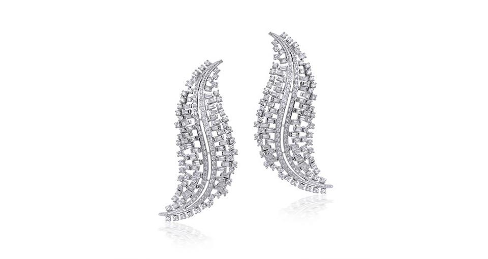 Ananya Scatter earrings in 18K white gold with 4.9 carats diamond, $16,600, ananya.com