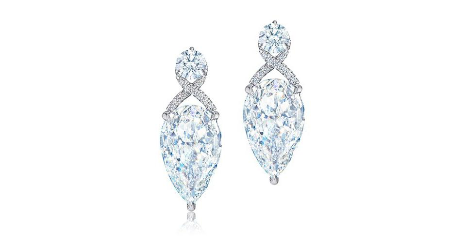 Kwiat Legacy Embrace earrings in platinum with 25.46 carats diamond, price on request, kwiat.com