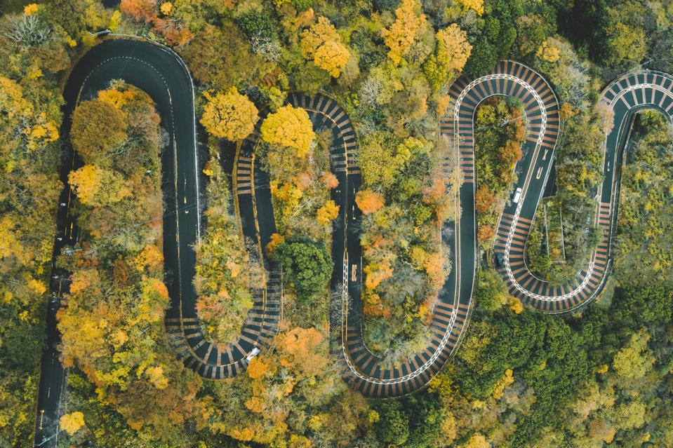 Hairpin bends on winding scenic road in a forest