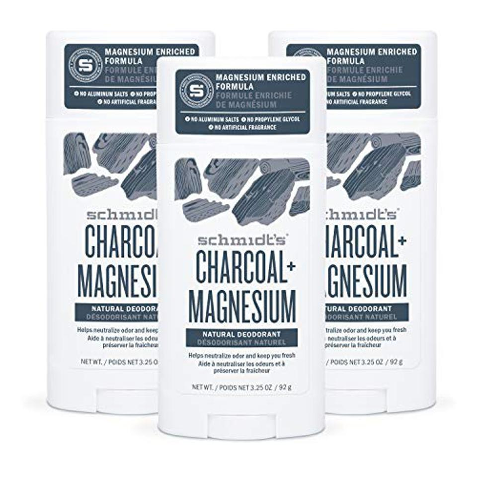 Best Beauty Products on Amazon: Schmidt's Aluminum Free Natural Deodorant for Women and Men, Charcoal + Magnesium 24 Hour Odor Protection, Certified Cruelty Free, Vegan Deodorant, 3.25 oz 3-pack