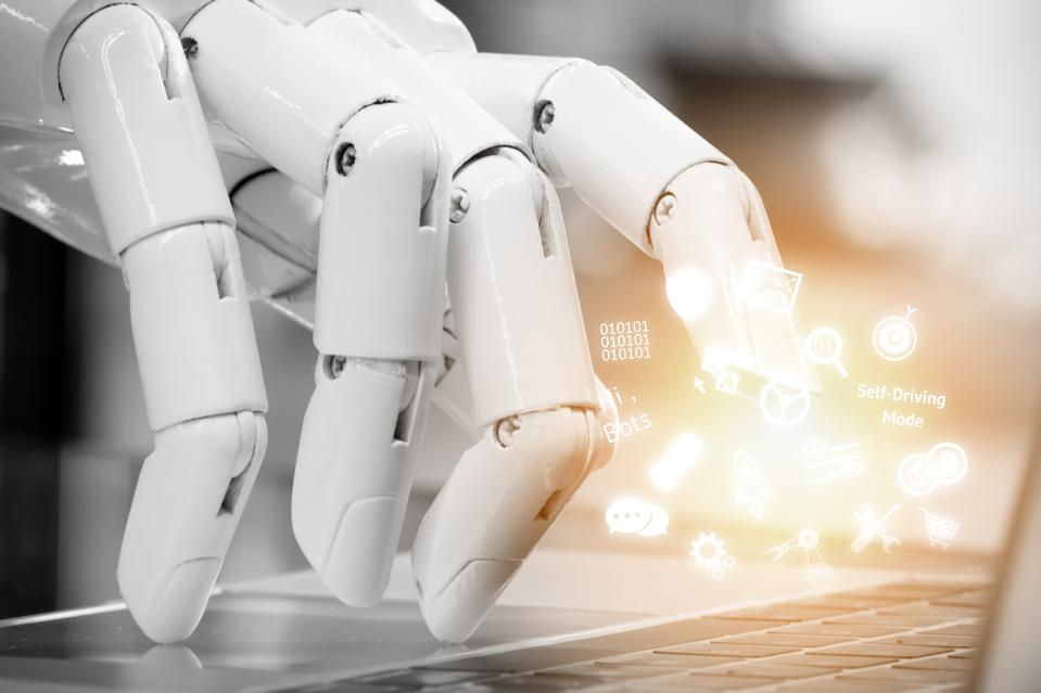 Chatbot , artificial intelligence , robo advisor , robotic concept. Robot finger point to laptop button and infographic icons with flare light effect.