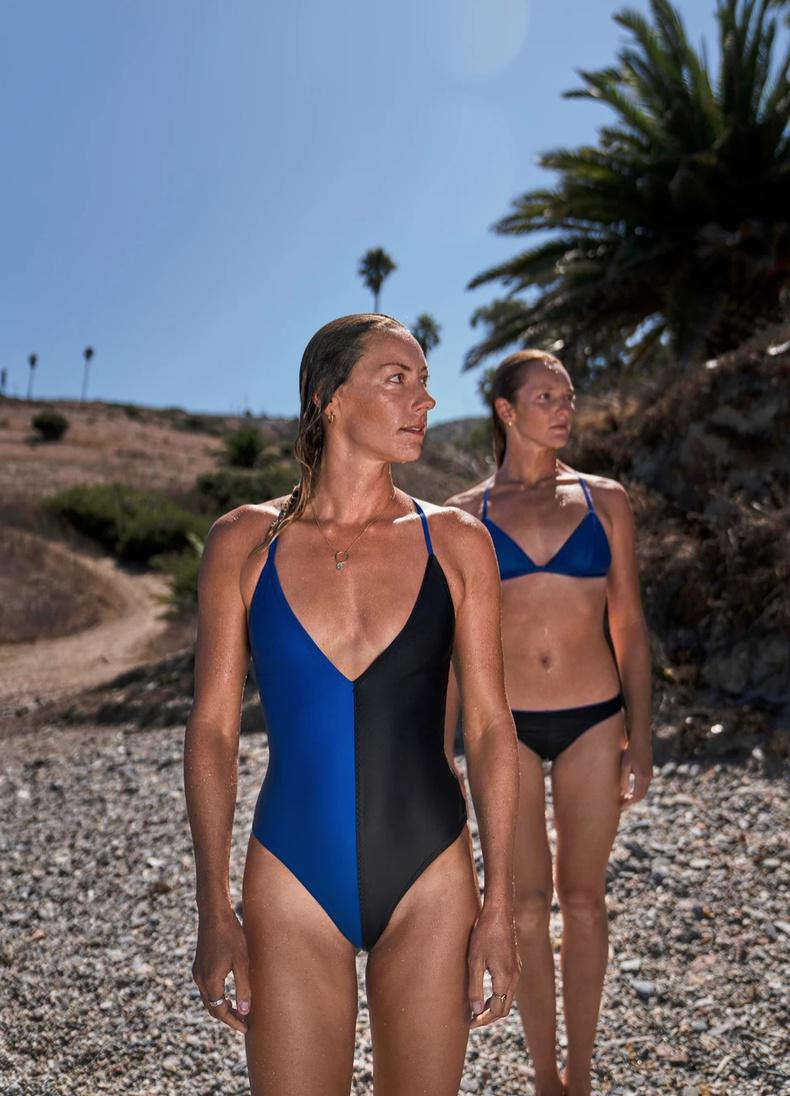 Solids and block-colors define the Ansea swimsuit line.