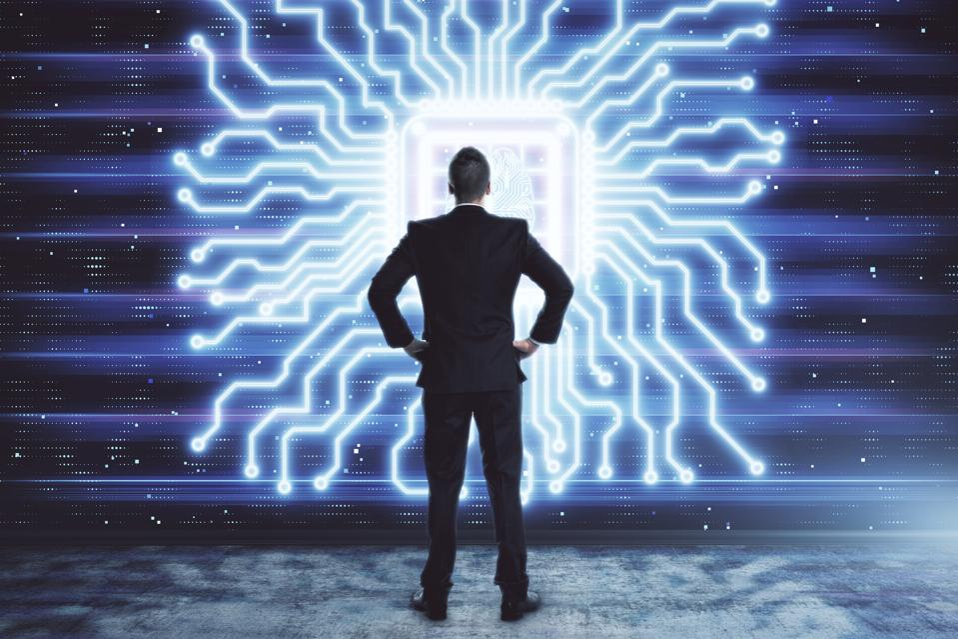 Man and brain icon hologram. Double exposure. Concept of data development.