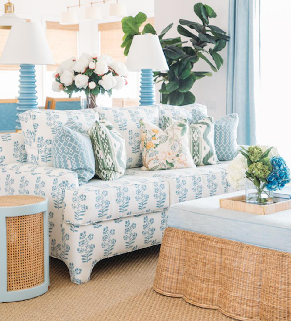 A room solid blue and patterned furniture