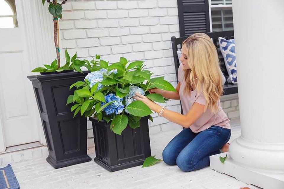 Jenny Reimold mixing faux and real plants on a porch