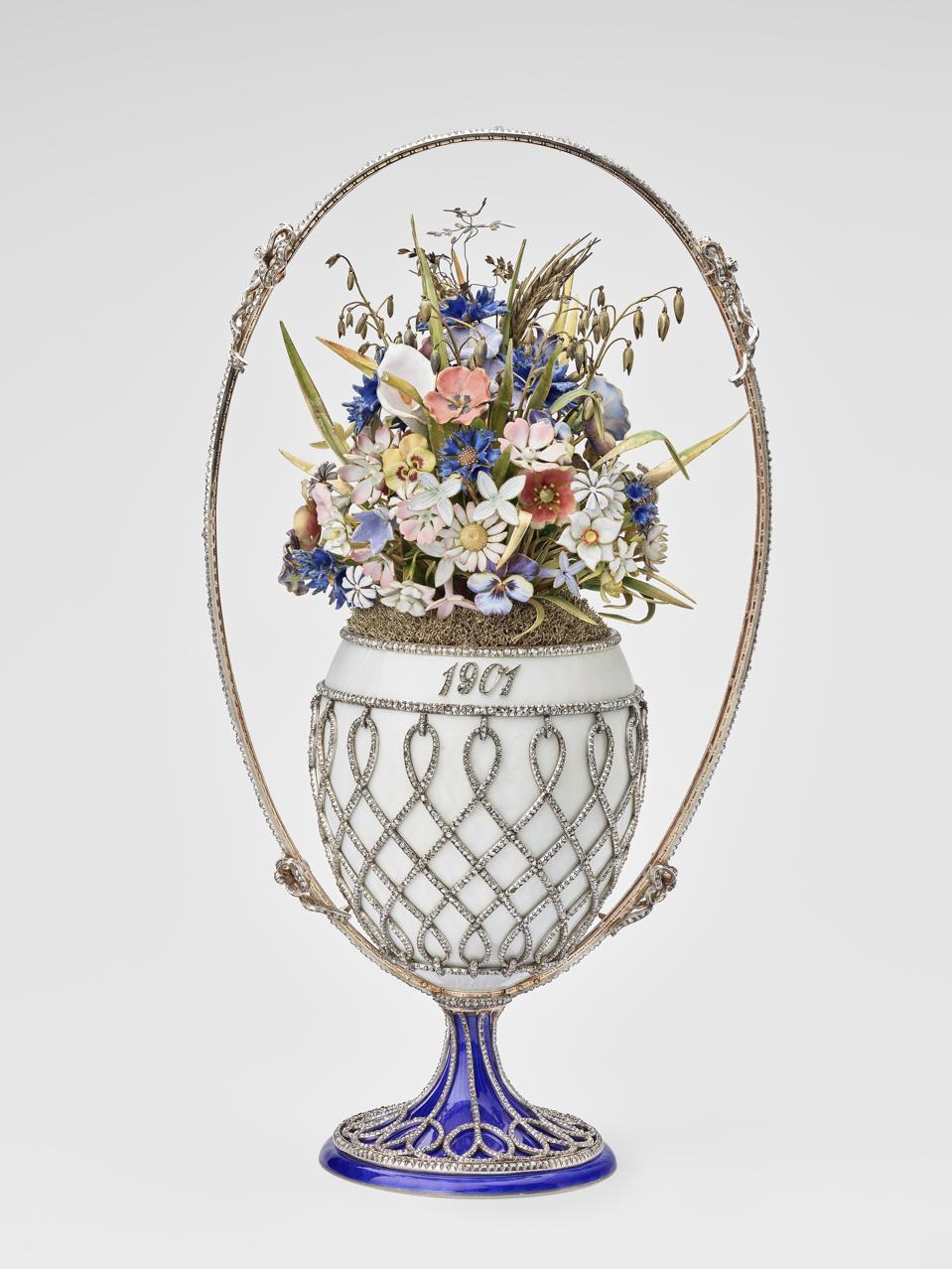 Basket of flowers egg, by Fabergé. Silver, parcel-gilt, gold, guilloché enamel, diamonds, 1901 Royal Collection Trust © Her Majesty Queen Elizabeth II 2021