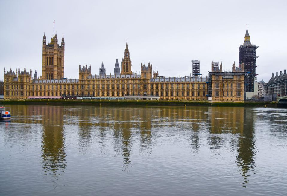 General view of the Houses of Parliament and River Thames in...