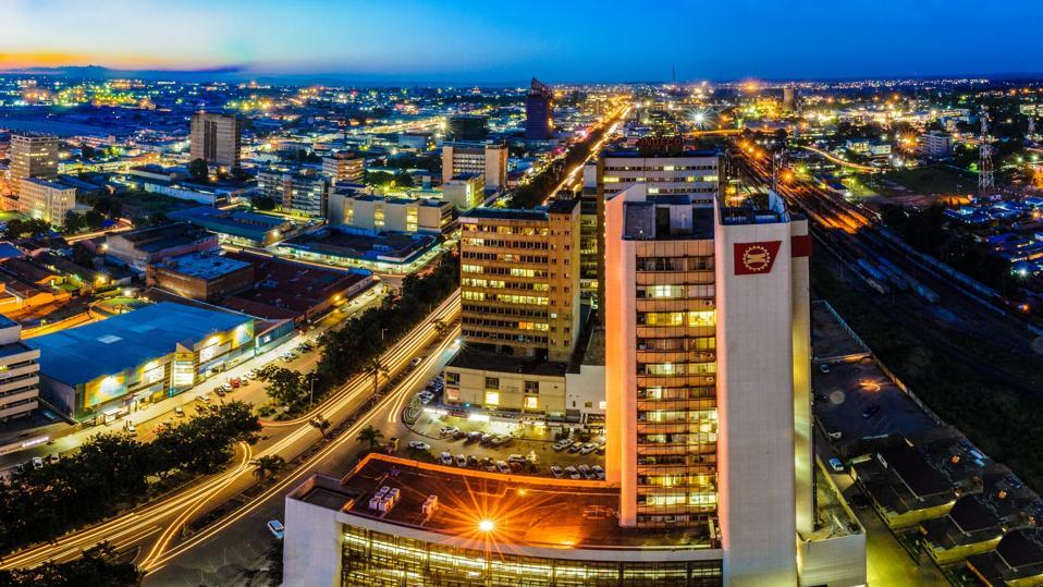 Skyline photo of Lusaka city at night