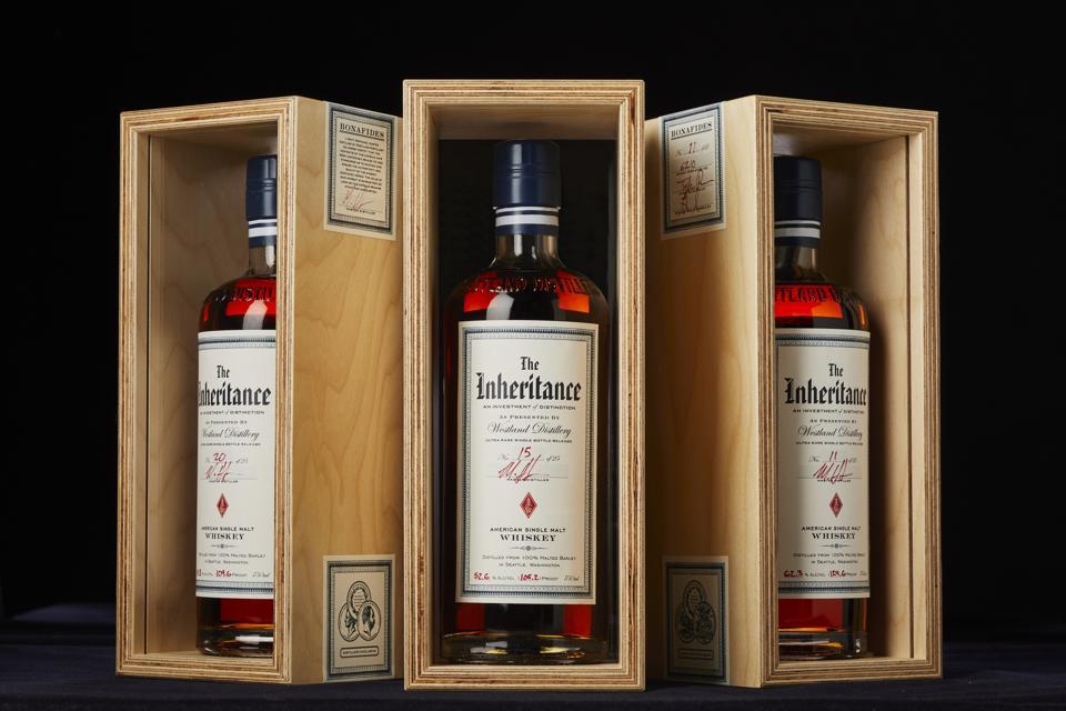Trio of Westland The Inheritance American Single Malt whiskeys in crates
