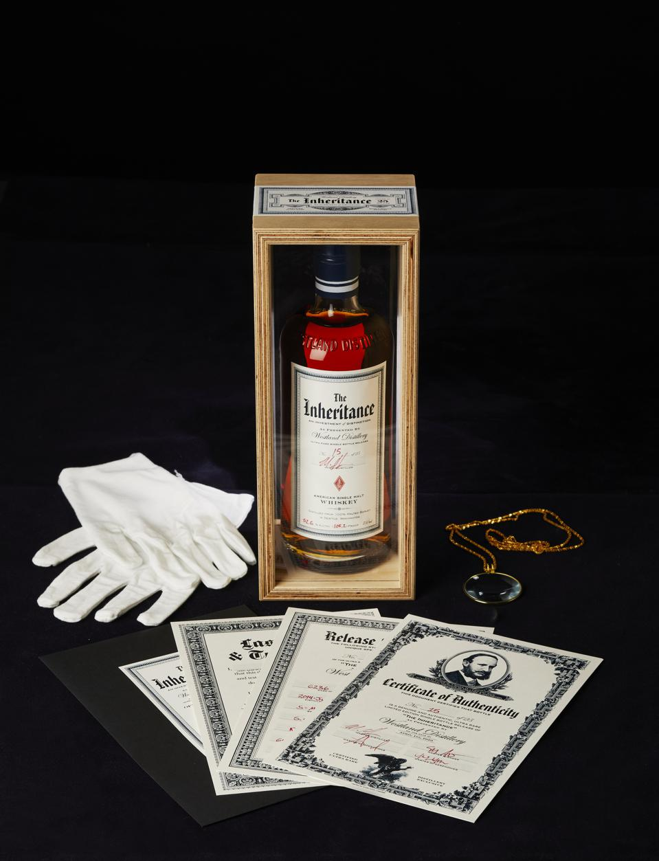 Bottle of Westland The Inheritance w/ gloves, monocle, certificates of authenticity