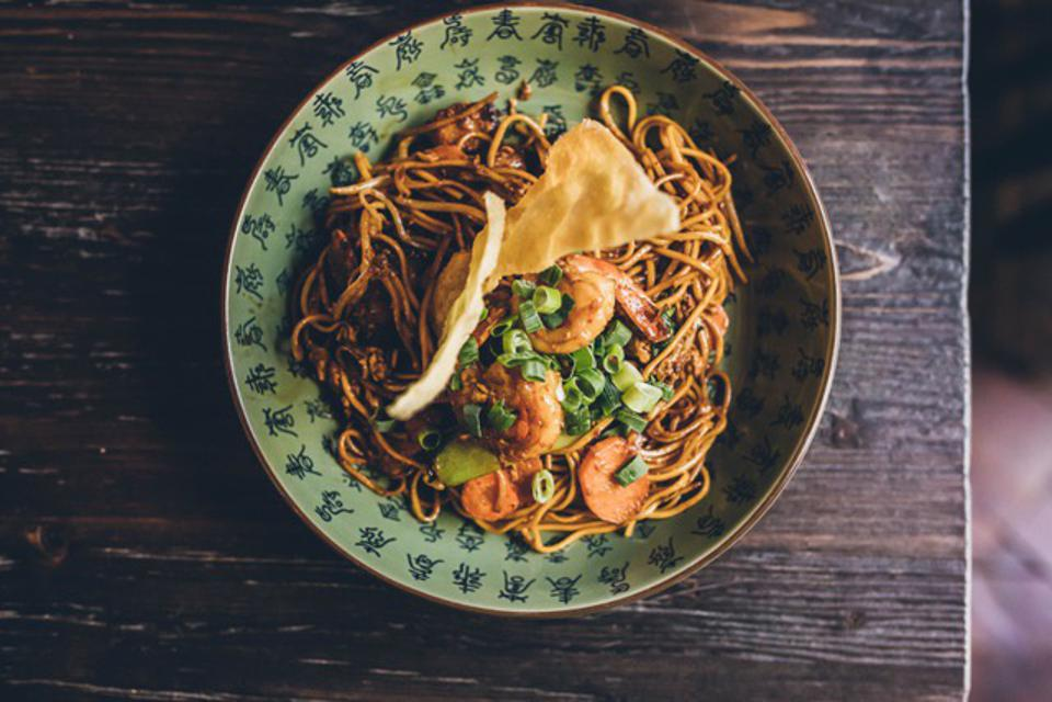 Closeup of noodles with shrimp and pork at Boa Bao, Barcelona.