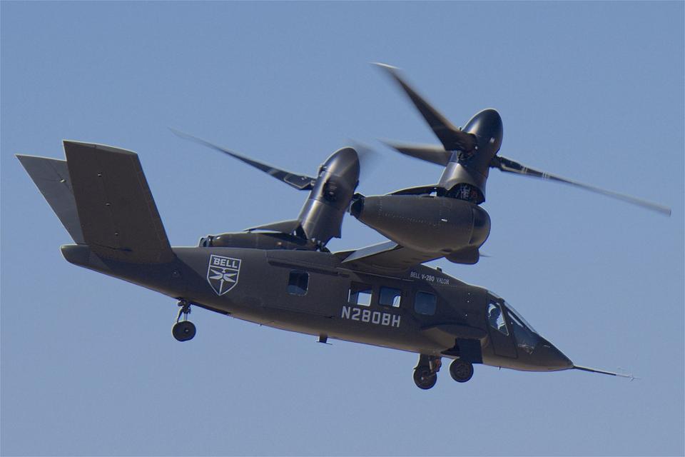 A Bell V-280 in hover mode.
