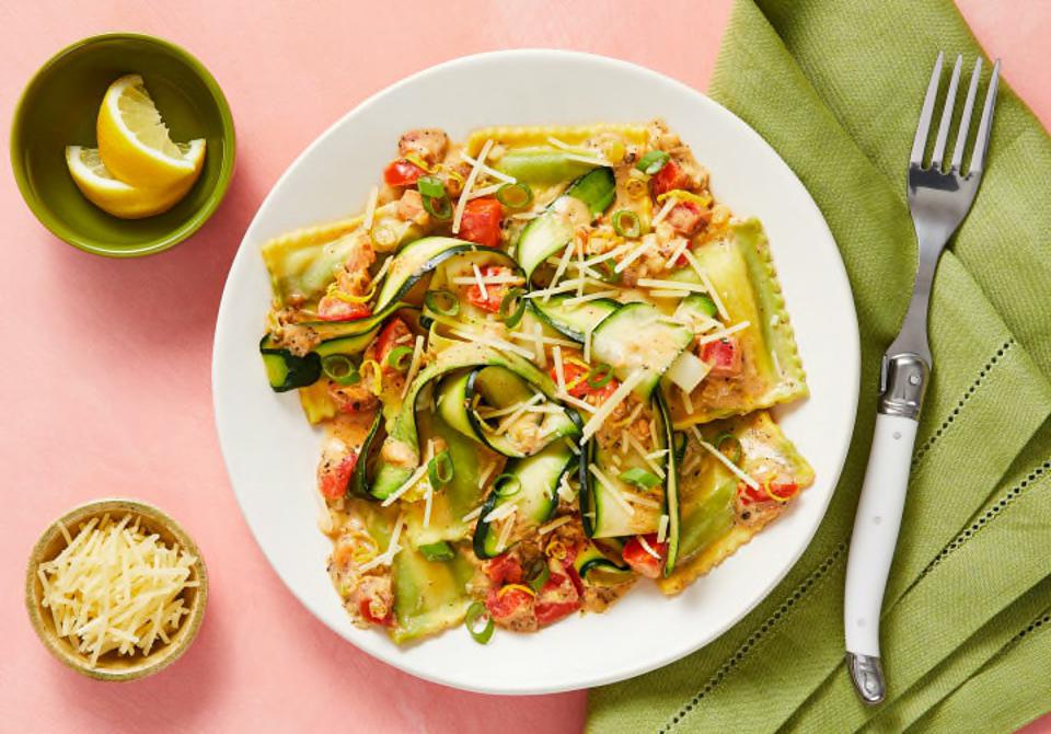 An overhead view of spinach and ricotta ravioli from HelloFresh