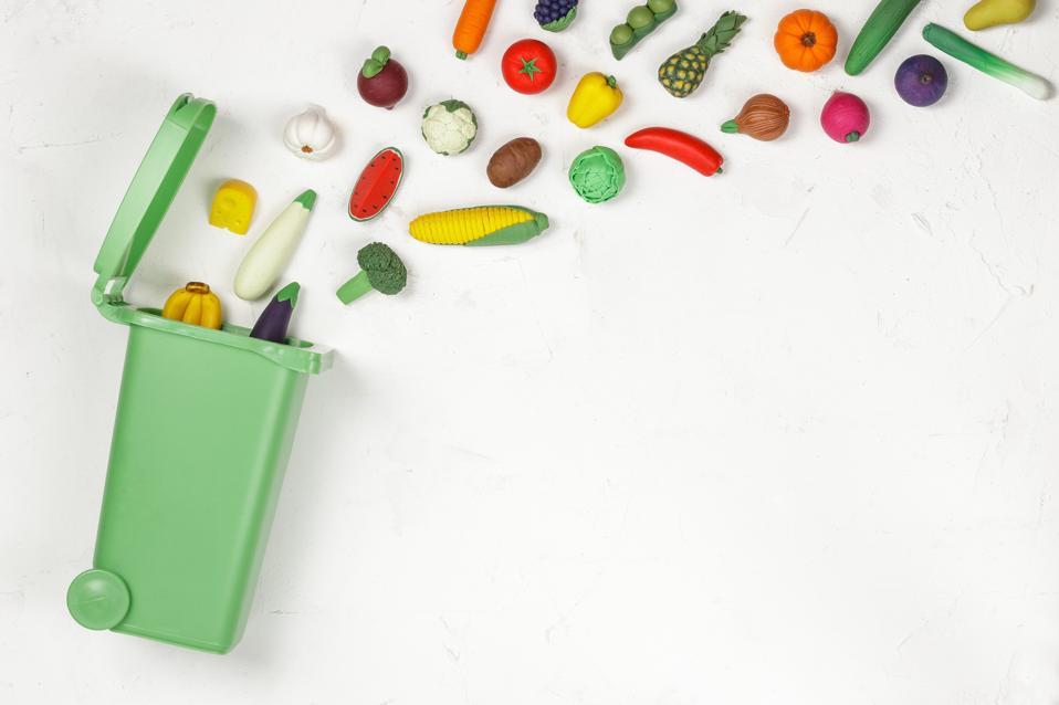 Food Waste Prevention Concept. Food in Garbage Bin